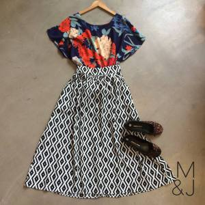 GOOD Clothing Bloom T in navy bloom (R295) with a Good HWD skirt in black and white geo print (R495) topped off with some leopard print M&J pumps (R440)